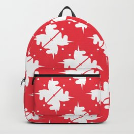 Bright Unicorn Icon Abstract Shape Pattern in Cherry and White Backpack