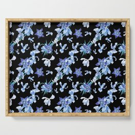 Orchid chic decor (blue & black palette) Serving Tray