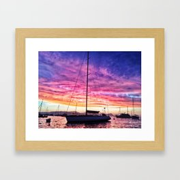 Sky Pillow & Yacht Framed Art Print