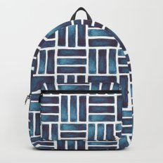 Navy Watercolour Rectangles Backpacks
