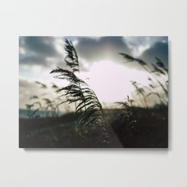 Sun sets at the beach Metal Print
