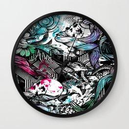 Skulls and fish repeat pattern. Wall Clock