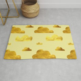 Gold clouds yellow Rug