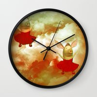 pigs Wall Clocks featuring Flying pigs by Annabellerockz