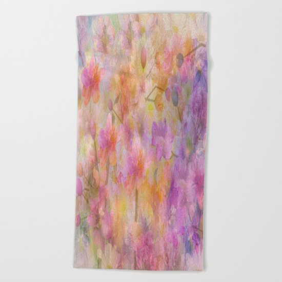 Sophisticated Painterly Floral Abstract Beach Towel
