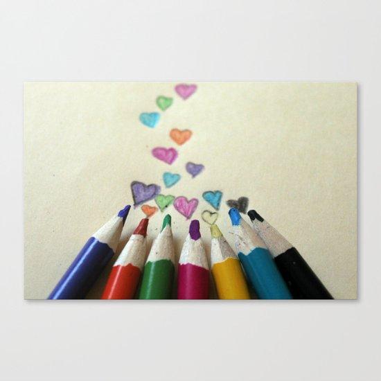pencil crayon love Canvas Print