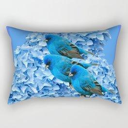 3 BLUE BIRDS & BLUE HYDRANGEAS ART Rectangular Pillow