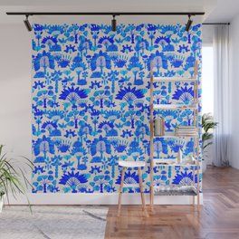 Exotic Garden Blue Wall Mural