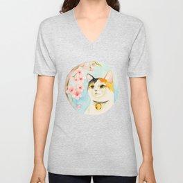 """""""Hanami"""" - Calico Cat and Cherry Blossom Unisex V-Neck"""