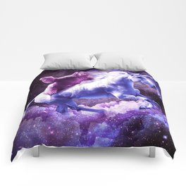 Space Sloth Riding On Unicorn Comforters
