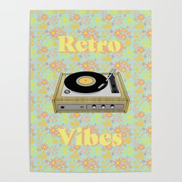 Retro Vibes Record Player Design in Yellow Poster