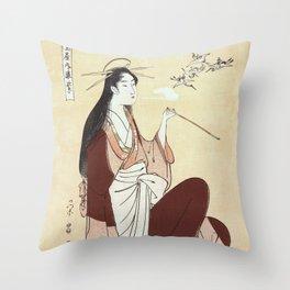 Komurasaki, a courtesan from the Tsunotamaya house  Throw Pillow