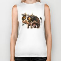 cow Biker Tanks featuring Cow by Riccardo Pertici