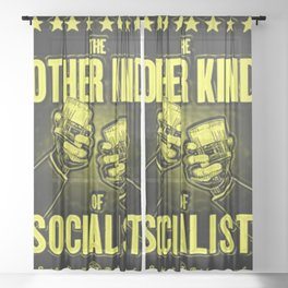 """Vintage """"The Other Kind of Socialist"""" Alcoholic Lithograph Advertisement in lemon yellow Sheer Curtain"""