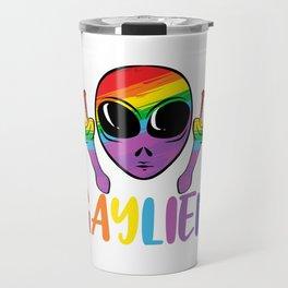 LGBTQ Community Alien Ufo Colors Apparel Colorful Gay LGBT Gaylien T-shirt Design Gay Flag Rainbow  Travel Mug