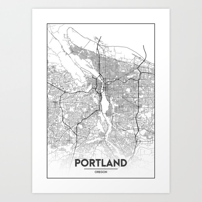 Minimal City Maps - Map Of Portland, Oregon, United States Art Print by  valsymot