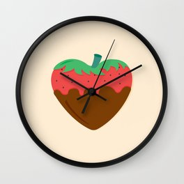 Choco Strawberry Heart Wall Clock