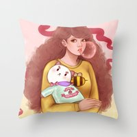 puppycat Throw Pillows featuring Bee and Puppycat by MW Illustration