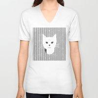 stripe V-neck T-shirts featuring Stripe Kitty by omgcatz