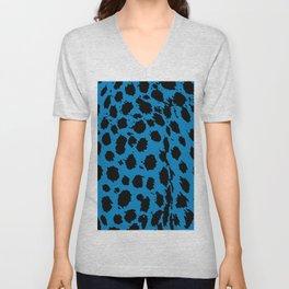 Cheetah Blue Unisex V-Neck