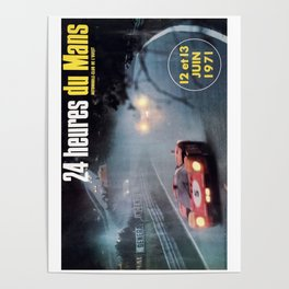 Le Mans, 24hs Le Mans 1971, original vintage poster, Le mans poster Poster