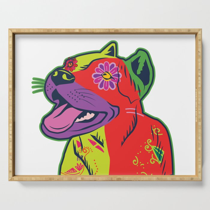 Pit Bull Dog Colorful Abstract Art Digitalart Gift Serving Tray