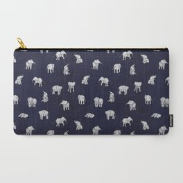 Indian Baby Elephants in Navy Carry-All Pouch