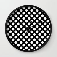 polka dots Wall Clocks featuring Polka Dots by Kings in Plaid