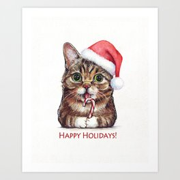 Cat in Santa Hat with Candy Cane Funny Christmas Animal Art Print