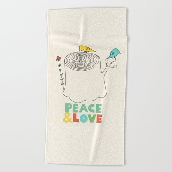 Peace & Love Beach Towel