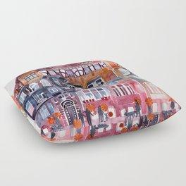Apartment House in Poznan and orange umbrellas Floor Pillow
