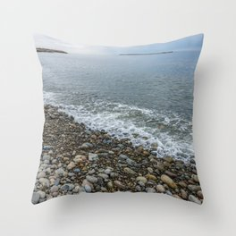 Tide going out on Pebble beach. Throw Pillow