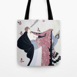 "Art Deco 1920's ""Rose Cloak"" Illustration Tote Bag"
