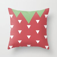 strawberry Throw Pillows featuring Strawberry by According to Panda