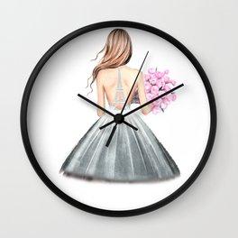 Paris print Fashion illustration Wedding dress art Paris theme Girls dorm art Eiffel wall art Romant Wall Clock