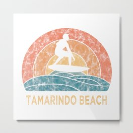Tamarindo Beach Vintage Surfing TShirt Retro Surfing Shirt Surfer Gift Idea  Metal Print