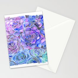 Purple and Blue Succulent Pattern Painting Stationery Cards