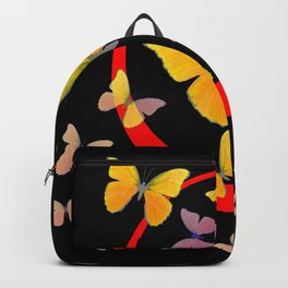 YELLOW BUTTERFLIES & RED RING  ABSTRACT ART Backpack