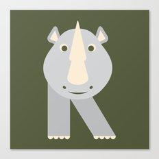 Letter R // Animal Alphabet // Rhino Canvas Print