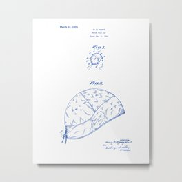 Water Polo Cap Vintage Patent Hand Drawing Metal Print