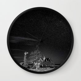 Neverwinter - Abandoned House Under Starry Night Sky in Black and White Wall Clock