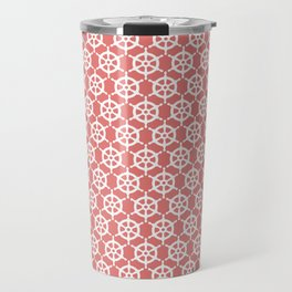 Ship's Wheel Pattern over Red Travel Mug