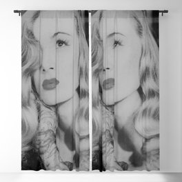 Veronica Lake with iconic peekaboo hair style black and white photograph Blackout Curtain
