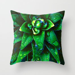 Morning Dew On Plant Throw Pillow