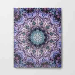 Plum and cream mandala Metal Print