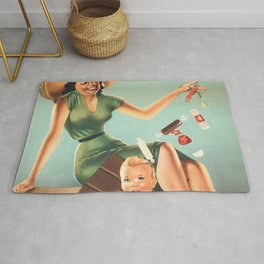 Chocolate Torrone A.P.I. Italian Voghera Candy Mom and Child Vintage Advertisement Poster Rug