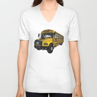 school V-neck T-shirts featuring School bus by mangulica