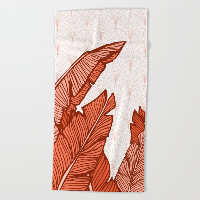 Red Tropical Leaves #society6 #decor #buyart Beach Towel