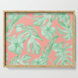 Tropical Palm Leaves Hibiscus Flowers Coral Green Serving Tray