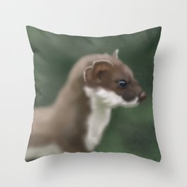 Stoat in Sight Throw Pillow